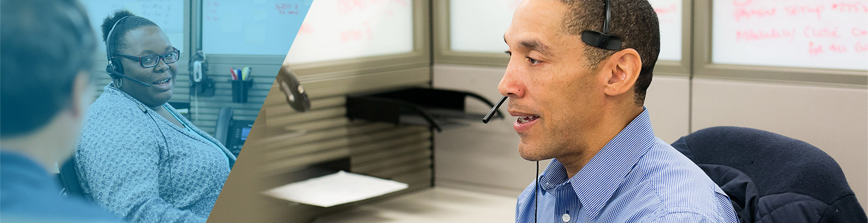 support staff on phone headset